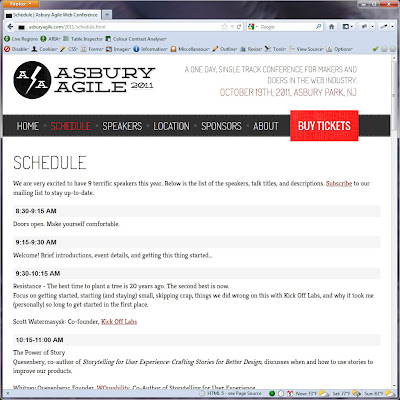 Screen shot of http://asburyagile.com/2011/schedule.html.