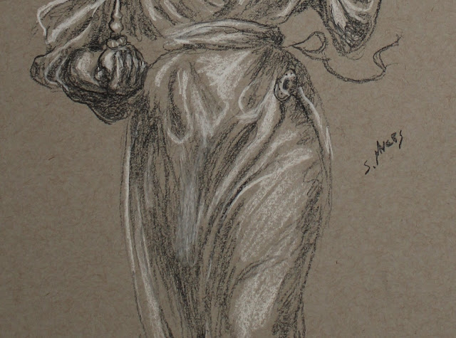 sarah, myers, drawing, sketch, study, charcoal, conte, baroque, dibujo, white, gray, grey, black, perfume, water, pitcher, grayscale, sculpture, woman, figure, figurative, lady, human, art, arte, artist, folds, skirt, ribbon, walk, detail, closeup, shading, highlights, hand