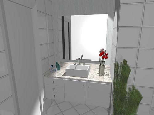 Ambientes & Ideias Banheiros -> Banheiro Planejado Em L