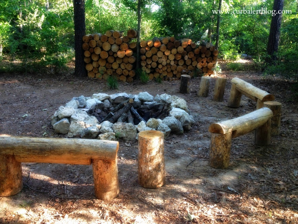 Welcome to Our Woods! Outdoor Firepit sitting area via Curb Alert! www.curbalertblog.com