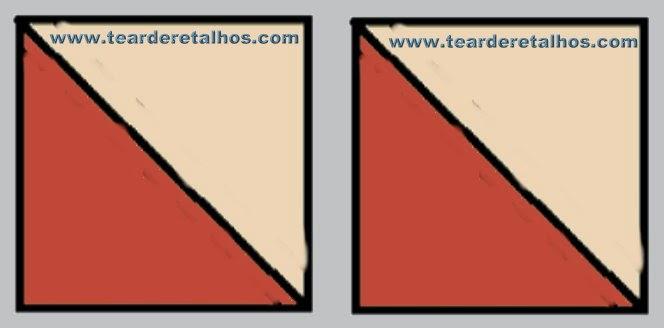 Quadrados em duas cores triangulares para trabalho de patchwork