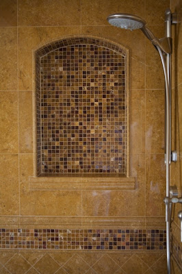 mosaic tile inside shower