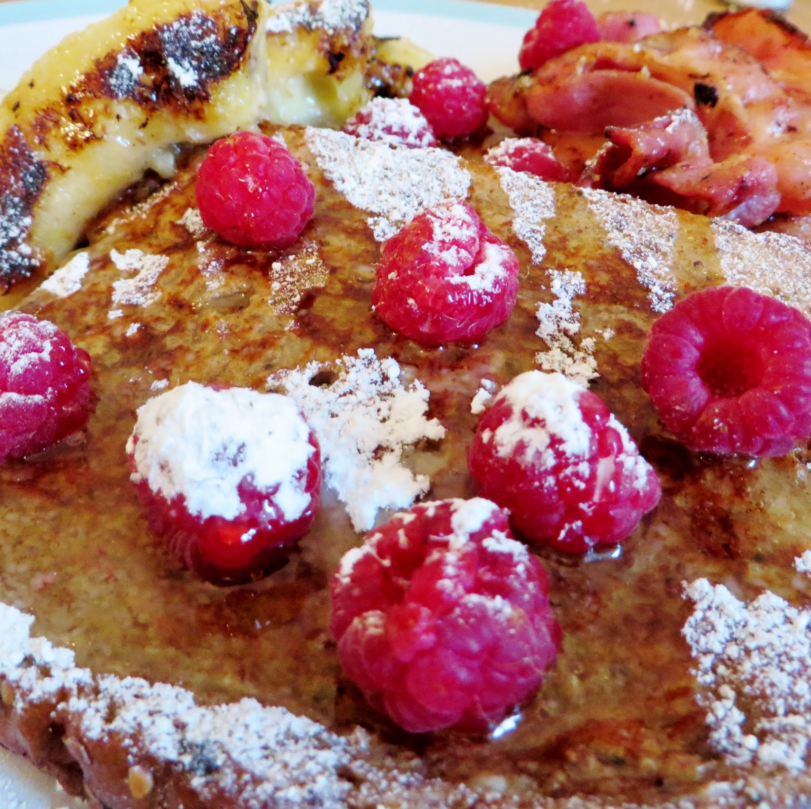 French toast, cooked breakfast, raspberries, breakfast ideas, banana, bacon