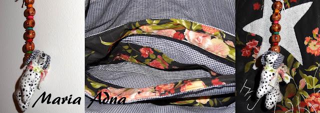 Bolsa em tecido, organizador de bolsa e chaveiro