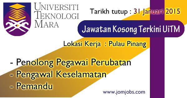 Jawatan Kosong Universiti Teknologi Mara (UiTM) 2015 di Pulau Pinang