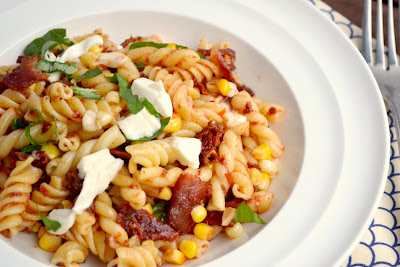 sun-dried tomato, corn, and bacon pasta recipe