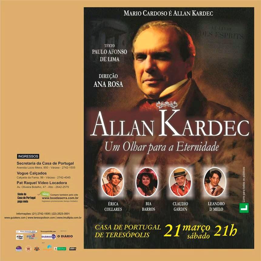 Espetáculo 'Allan Kardec – Um olhar para a eternidade' neste sábado em Teresópolis