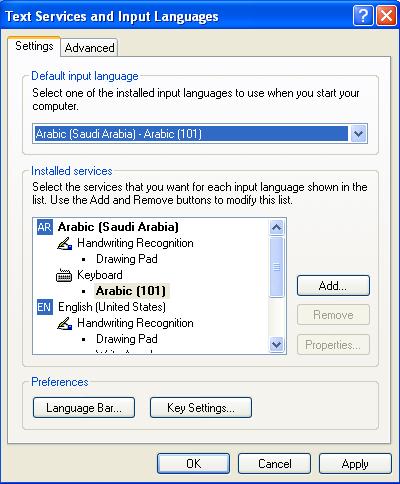 "Klik ""Input Language"" dengan ""Arabic (Saudi Arabia ..."