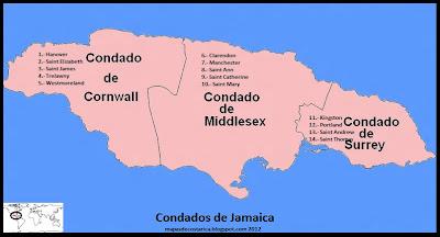 Mapa de Los condados de Jamaica