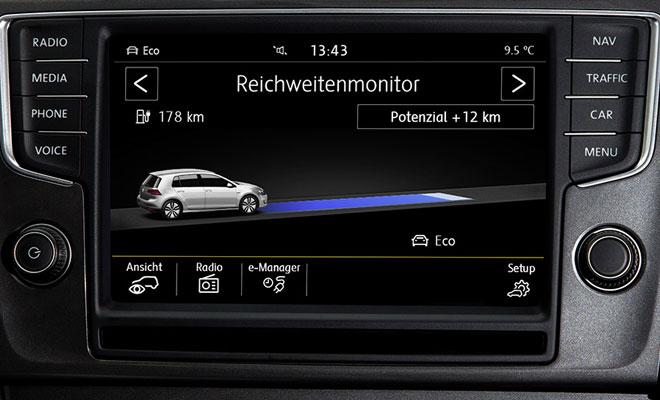Volkswagen e-Golf range monitor