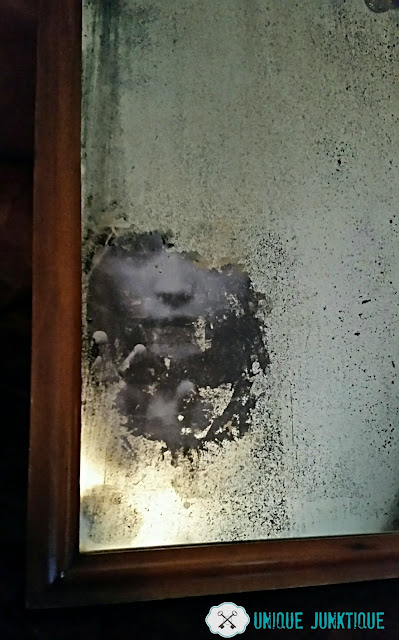 halloween, antiqued mirror, how to make a spooky mirror