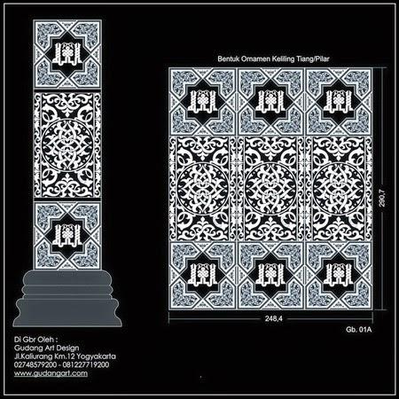 Motif Tiang - Desain Pilar Masjid Vector - Gudang Art