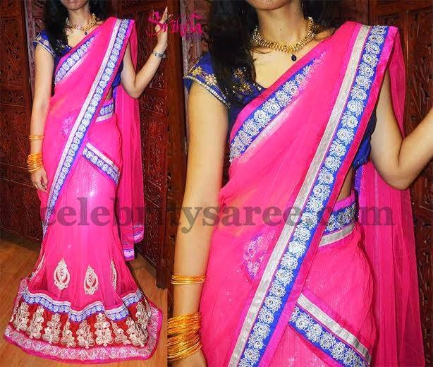 Parsi Work Pink Chiffon Half Sari