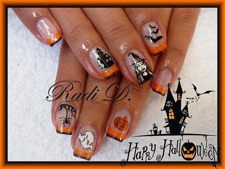 Маникюр с декорация за Хелоуин - къси нокти