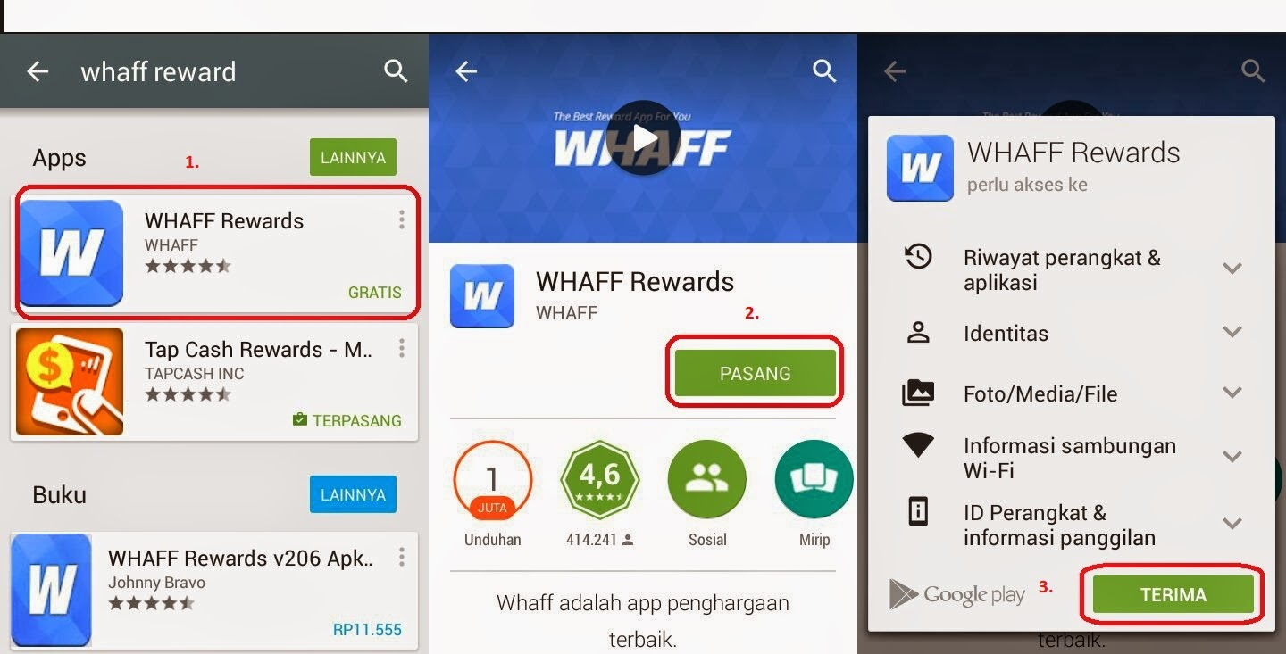 Download dan install aplikasi whaff rewards
