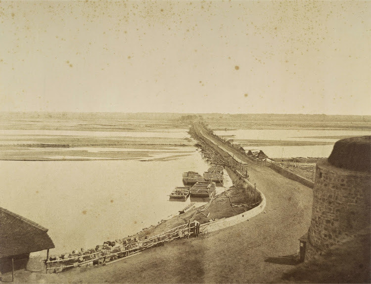 Boats across the Yamuna River near the Red Fort Walls - Delhi 1858