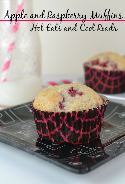 A fruity and delicious breakfast! Make ahead, and serve on those busy mornings before school! Apple and Raspberry Muffins Recipe from Hot Eats and Cool Reads!