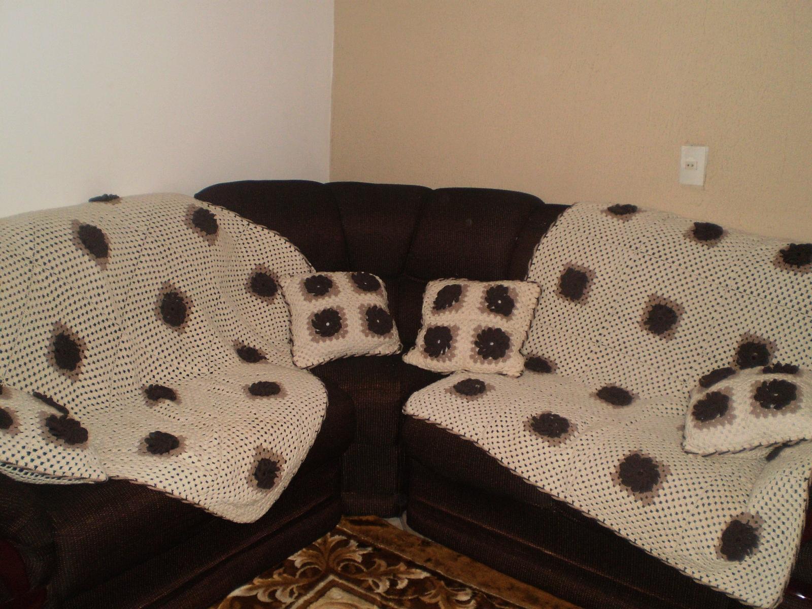 Artesanatos da t ia manta para sof e almofadas de croch - Manta de sofa ...