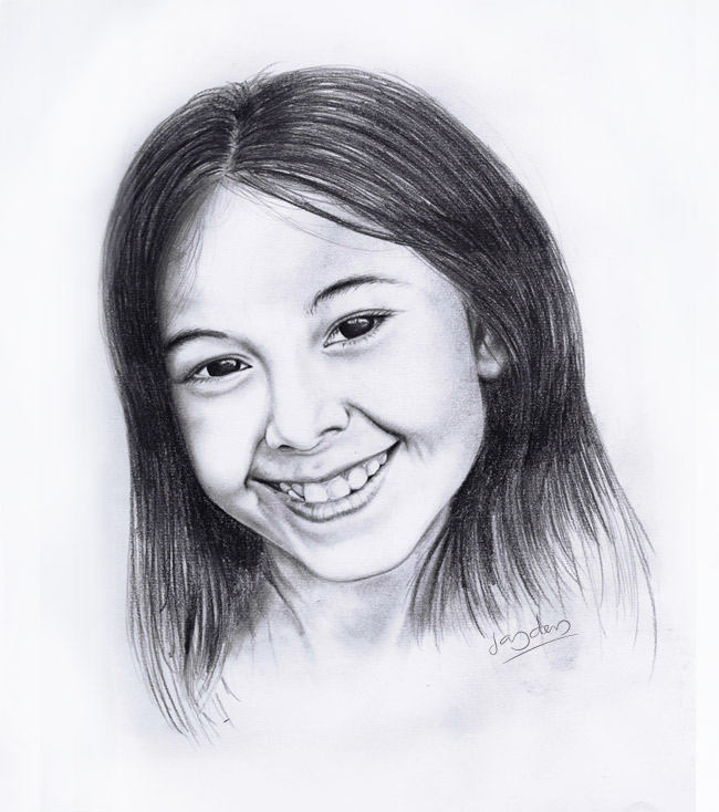 realistic pencil portrait of girl