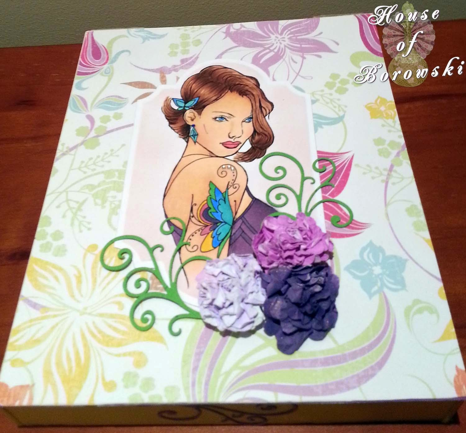 Fitztown, HOB,Copics, fiskairs apron lace border punch, fitztown cameo 14, homemade flowers, MFT Dienamics flourish die, rosie's studio paperpack, stampin up pansy punch,
