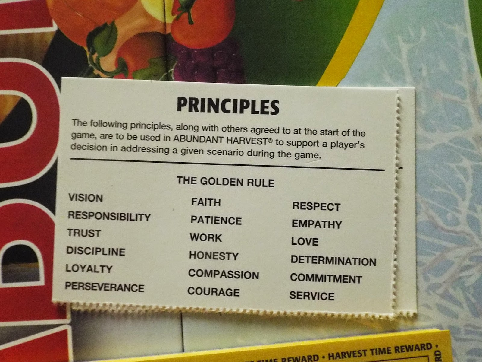 Abundant Harvest:  Principles Card