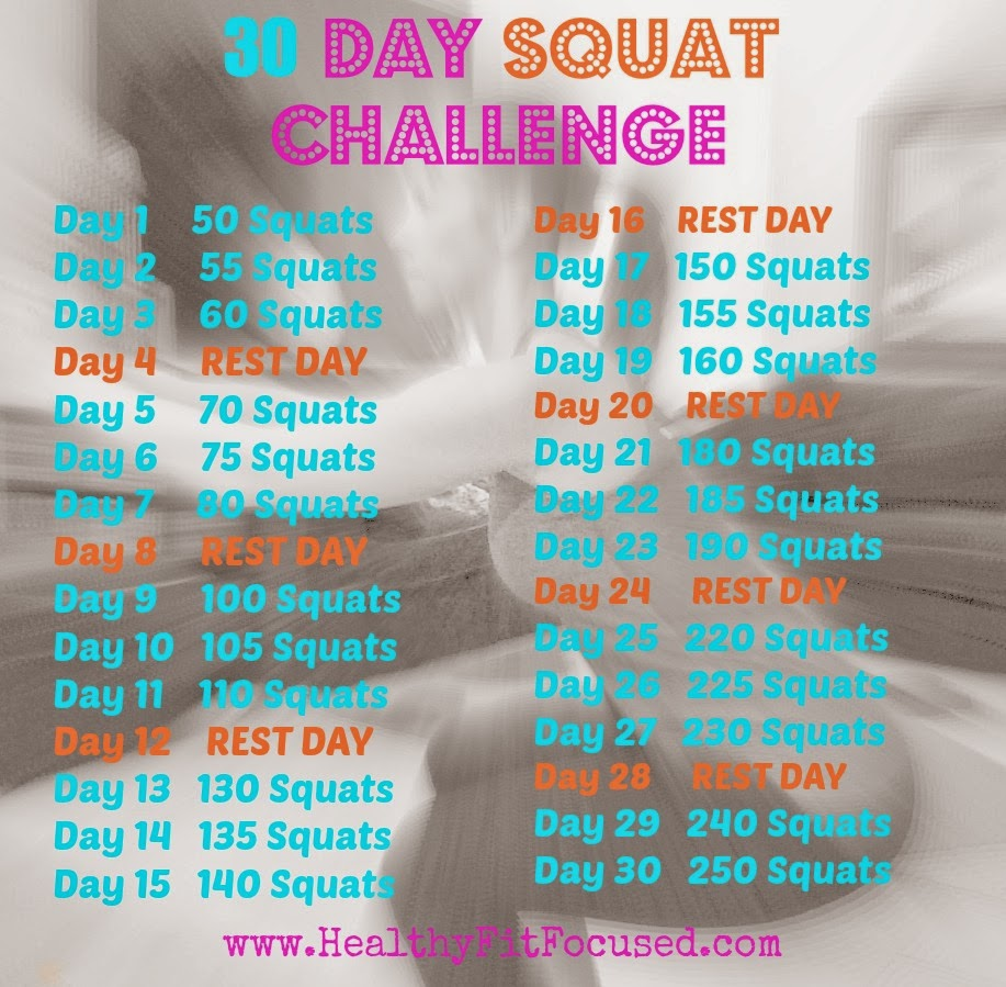 30 Day Squat Challenge, www.HealthyFitFocused.com