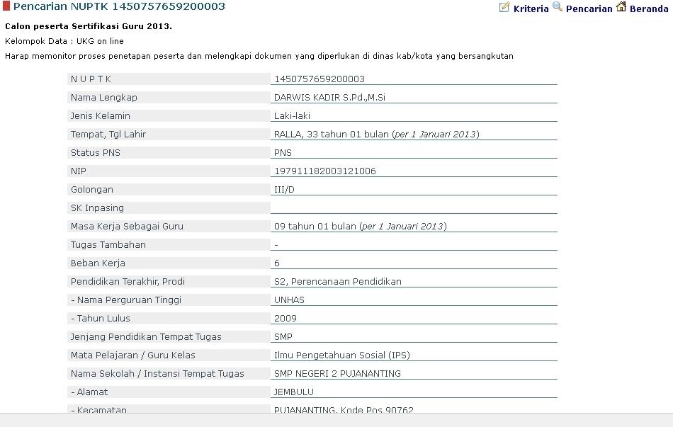 anda peserta sertifikasi guru 2013 hasilnya seperti gambar dibawah ini