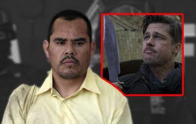 Marco Guzman disguised as Inglorious Basterd, Brad Pitt