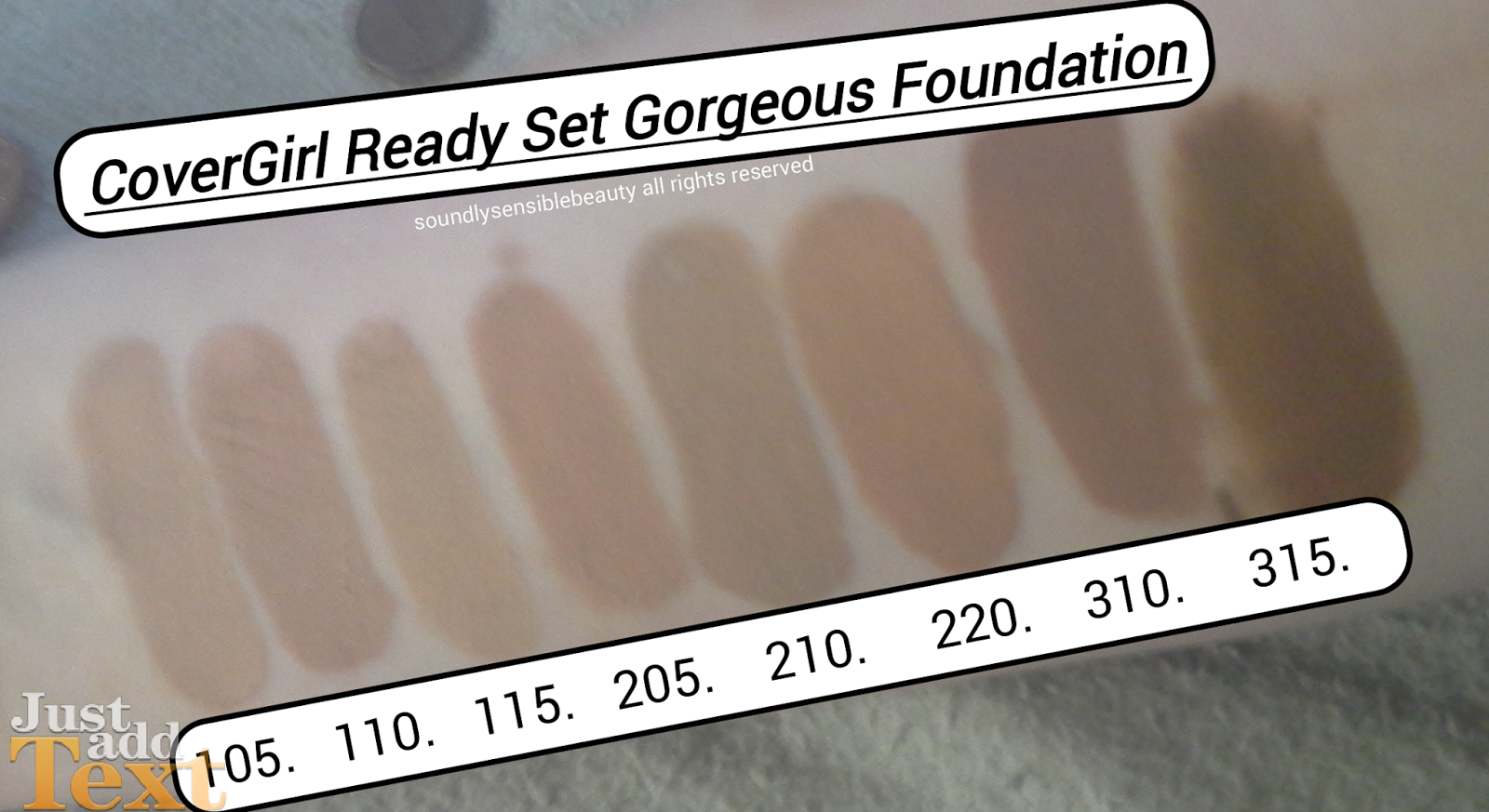 CoverGirl Ready Set Gorgeous Foundation; Review & Swatches of Shades 105 Classic Ivory, 110 Creamy Natural, 115 Buff Beige, 205 Natural Beige, 210 Medium Beige, 220 Soft Honey,  310 Classic Tan, 315 Tawny