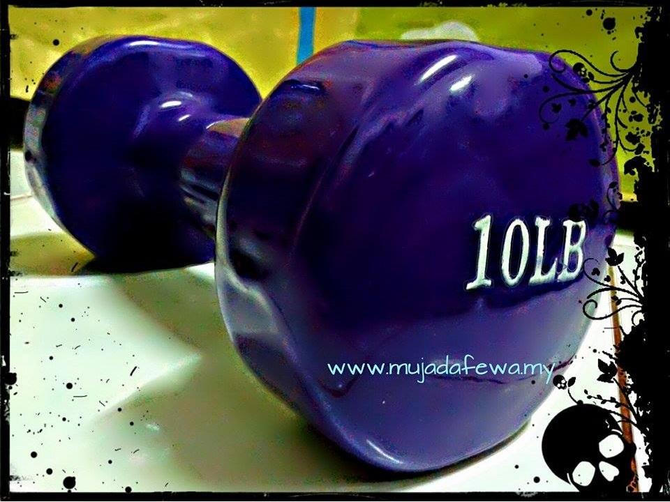 dumbbell, purple dumbbell, dumbbell ungu, bersenam dengan istiqamah, istiqamah bersenam