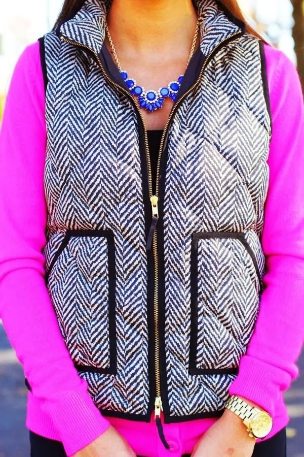 Beautiful combination pink sweater and j crew vest