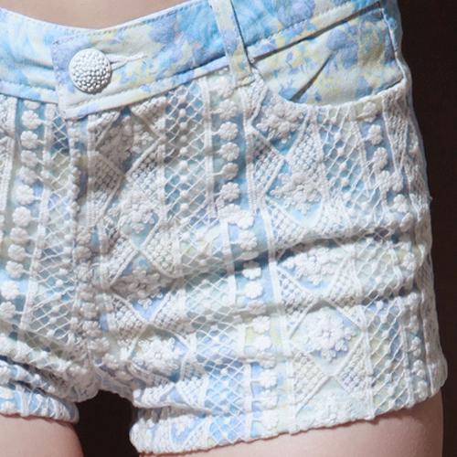 Lace Panel Floral Cotton Shorts