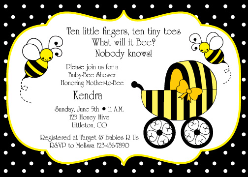 Above Is The Honey Bee Buggy Design Baby Shower Invitation You May Change Wording To Be Anything Like Below Matching For