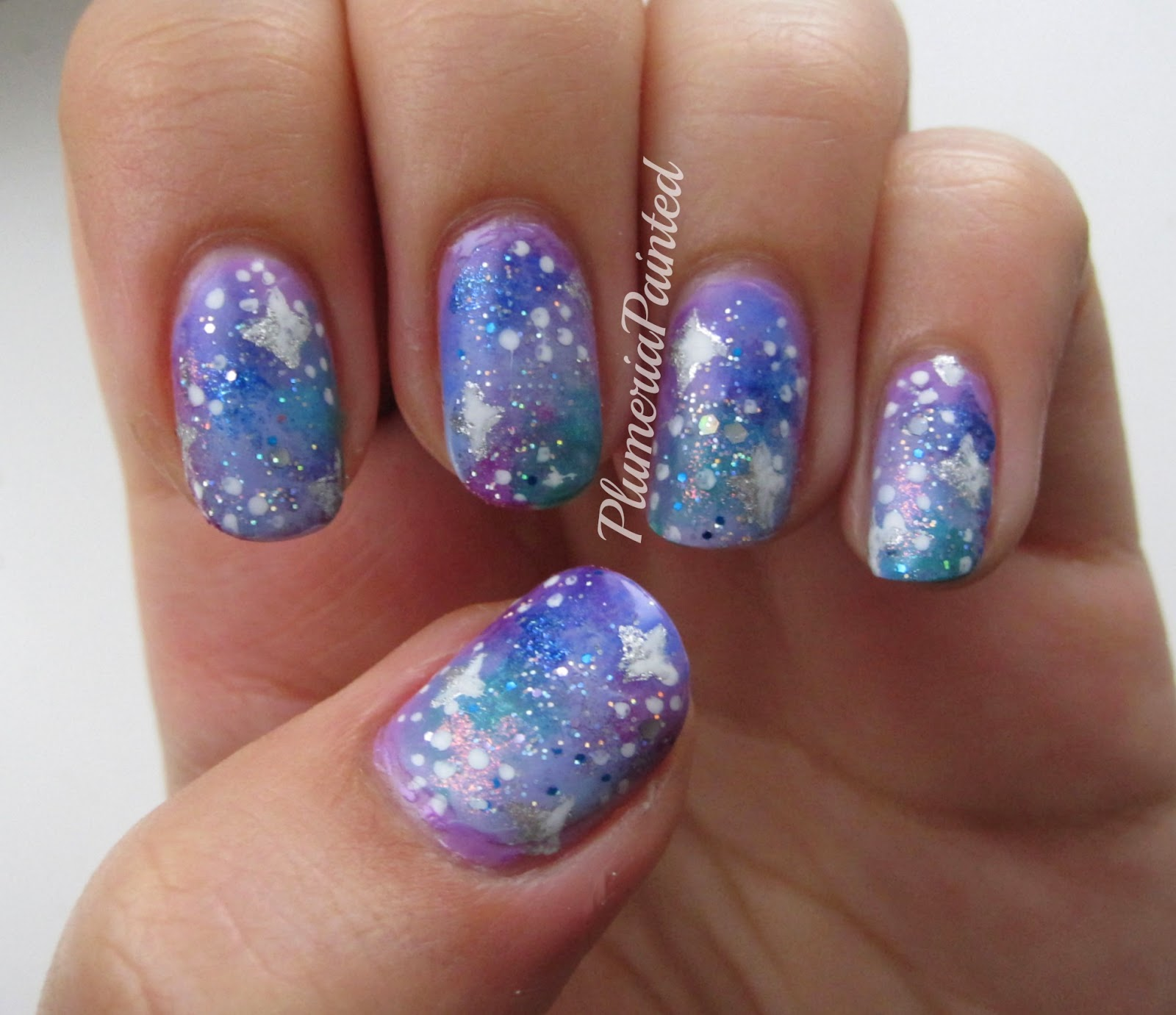 PlumeriaPainted: Purple Galaxy Nails