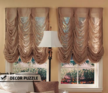 transpartent brown living room window curtains in french style