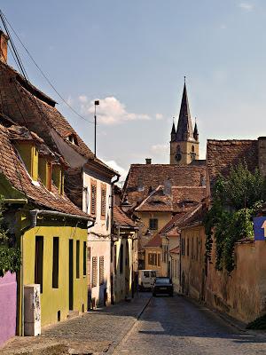 Hermannstadt Romania, medieval city street