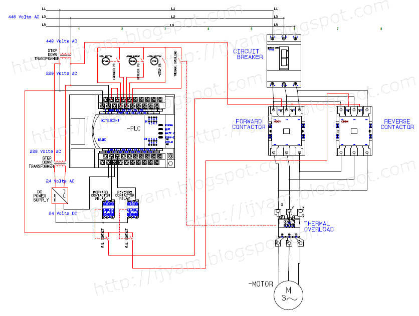 Forward+Reverse+PLC+Motor+Control+Signed electrical wiring diagram forward reverse motor control and power 3 phase contactor with overload wiring diagram at crackthecode.co