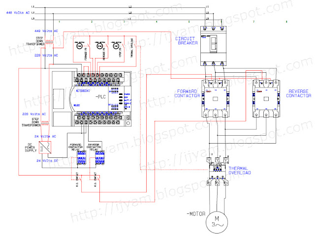 Electrical Wiring Diagram Forward Reverse Motor Control and Power Circuit with PLC Connection