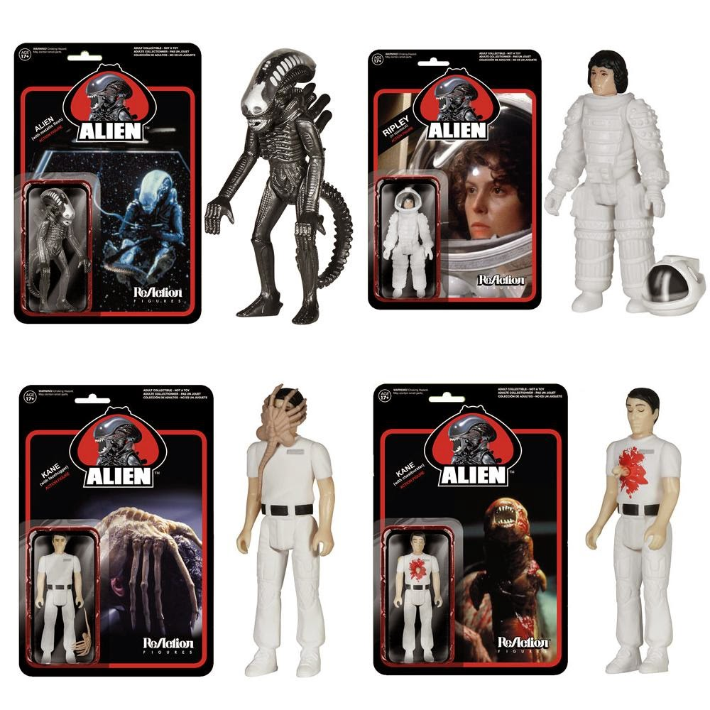 Alien ReAction Wave 2 Retro Action Figures by Funko & Super7 - Metallic Alien (Big Chap), Spacesuit Ripley, Facehugger Kane & Chestburster Kane
