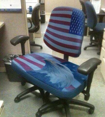 A Two Person Office Chair Decorated In An Eagle And An America Flag