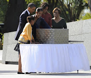The Obama Family Attend Martin Luther King, Jr Memorial Dedication at The .
