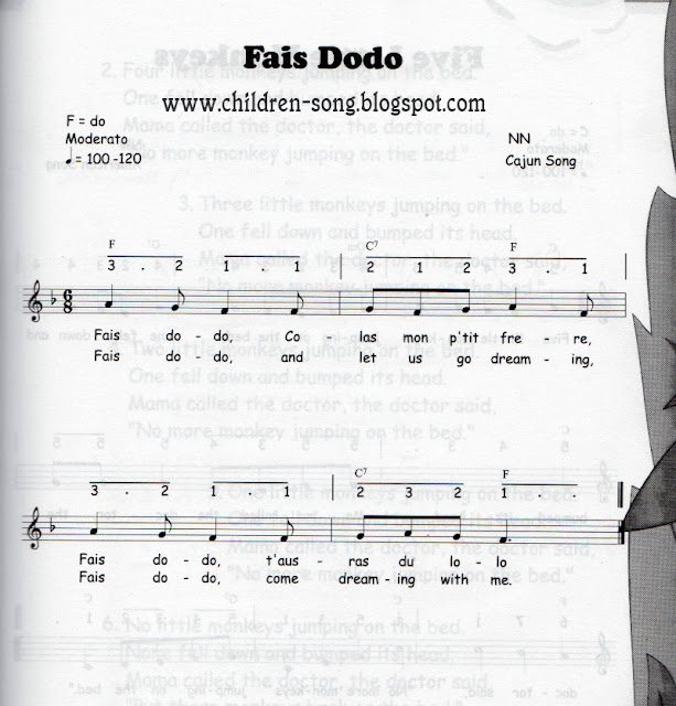 Fais Dodo Children Song with Notes and Chords