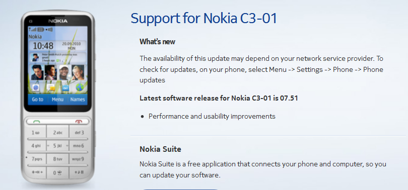Nokia C3-01 Software