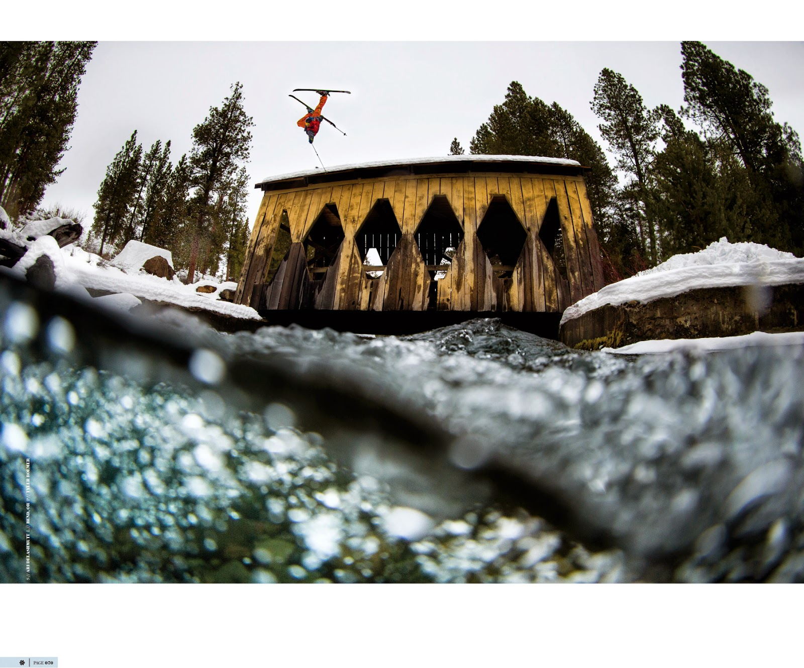 Skier Ari Delashmutt airs over the Shevlin Bridge at Shevlin Park in Bend Oregon.