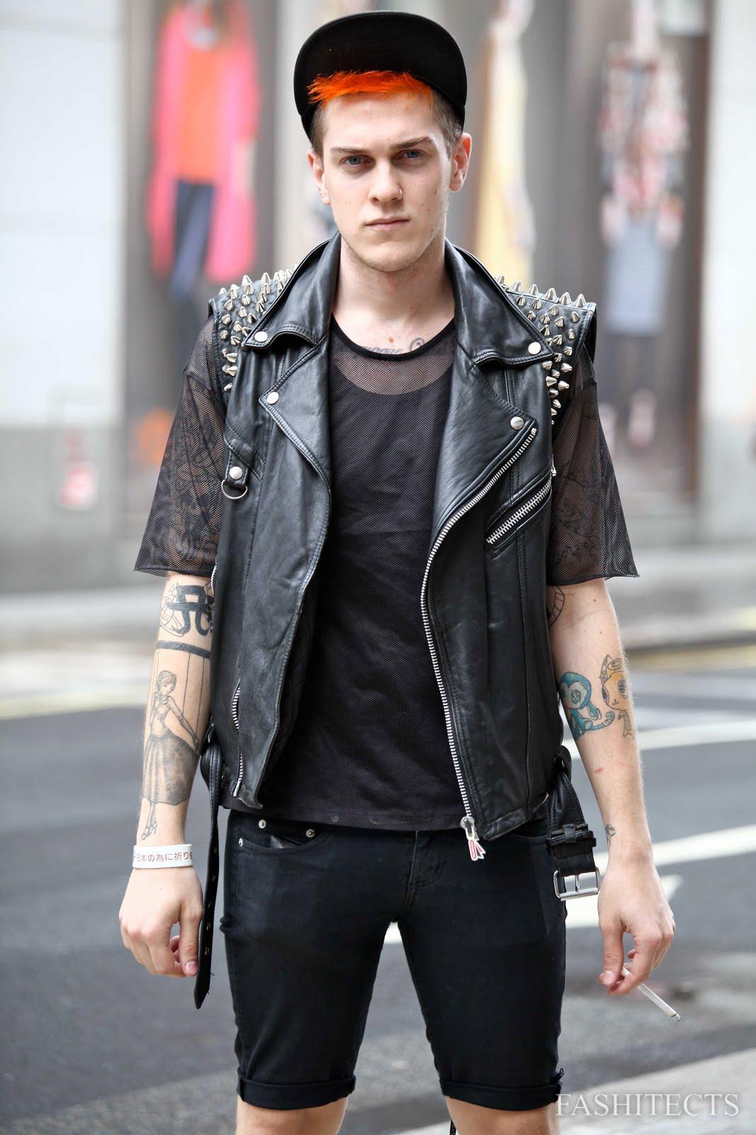Punk style leather jacket