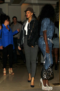 Rihanna out for dinner in tight pants