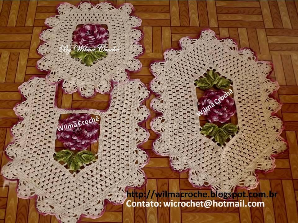 Wilma Croche: Jogo de banheiro em croche com rosas
