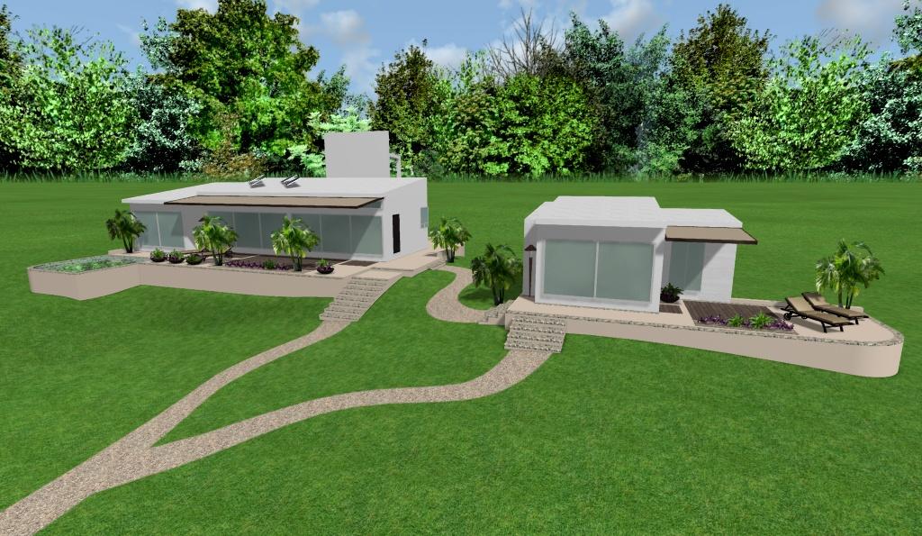 diseño de casas modernas, renders 3D de exteriores, vista aerea