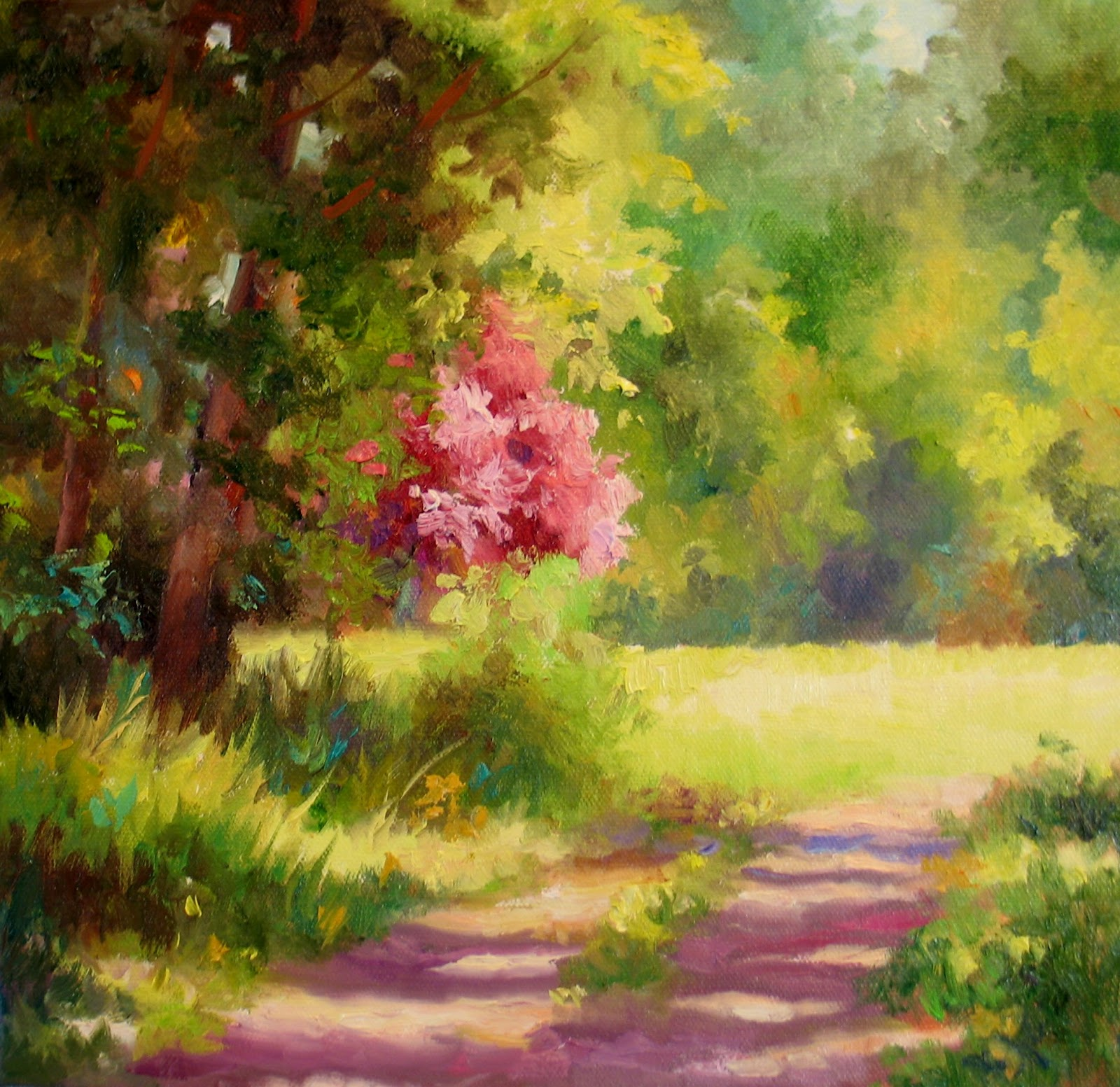 Nel 39 s everyday painting spring meadow sold for Spring canvas paintings