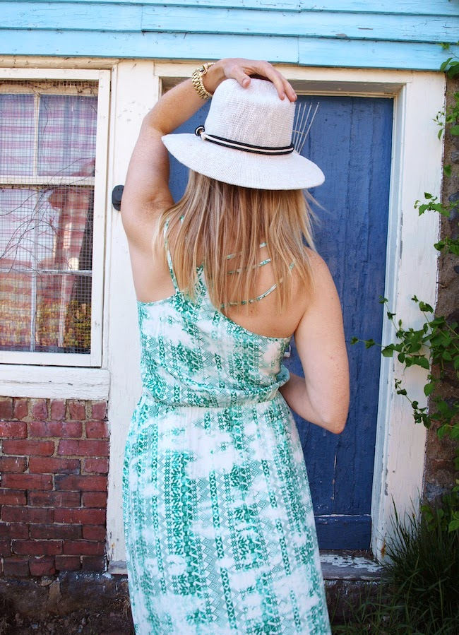 Parker maxi dress, straw fedora, straw hat, pretty back, Zappos.com, Zappos shopping, what to wear in summer in boston